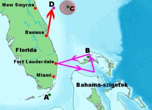 A szerencsétlenség főbb eseményeinek térképe. Jelmagyarázat: lila nyilak - a 19. repülőraj tervezett útvonala, piros nyíl - a Martin Mariner hidroplán útvonala, A - Taylor hadnagy becslése a 16.00 órai helyzetéről, B - a repülőraj valószínűsített helyzete 16.00 órakor, C - a repülőraj 17.50-kor számított helyzete, D - a robbanás pozíciója 19.50-kor